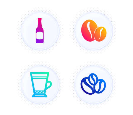 Coffee beans, Latte and Beer icons simple set. Button with halftone dots. Coffee-berry beans sign. Whole bean, Coffee beverage, Bar drink. Food and drink set. Gradient flat coffee beans icon. Vector