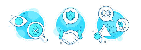 Dermatologically tested, Medical shield and Organic product line icons set. Handshake deal, research and promotion complex icons. Wash hands sign. Organic, Medicine protection, Leaf. Skin care. Vector 일러스트