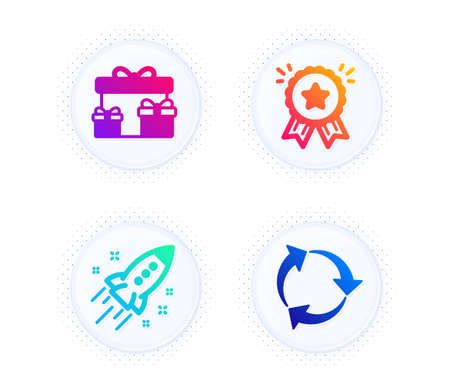 Surprise boxes, Startup rocket and Loyalty award icons simple set. Button with halftone dots. Recycle sign. Holiday gifts, Business innovation, Bonus medal. Recycling waste. Business set. Vector