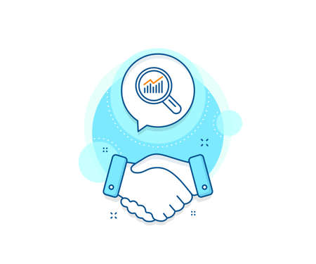 Report graph or Sales growth sign in Magnifying glass. Handshake deal complex icon. Chart line icon. Analysis and Statistics data symbol. Agreement shaking hands banner. Data analysis sign. Vector