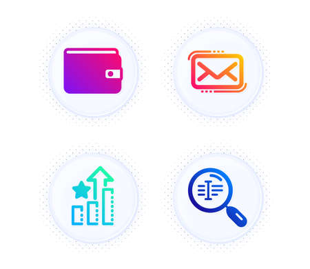 Ranking stars, Messenger mail and Money wallet icons simple set. Button with halftone dots. Search text sign. Winner results, New e-mail, Payment method. Find word. Business set. Vector