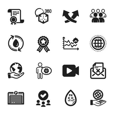 Set of Technology icons, such as Reject letter, Cogwheel. Certificate, approved group, save planet. Safe planet, Ph neutral, Intersection arrows. Parking garage, Video camera, Seo analysis. Vector