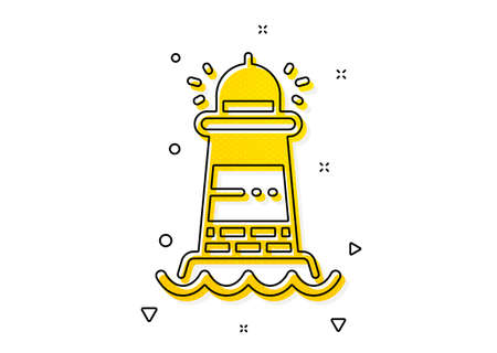 Searchlight tower sign. Lighthouse icon. Beacon symbol. Yellow circles pattern. Classic lighthouse icon. Geometric elements. Vector