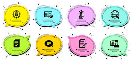 Article, Winner podium and Handout signs. Chat bubbles with quotes. Chat, Internet and Presentation line icons set. Copyright, Calculator target symbols. Speech bubble, World web. Vector 向量圖像