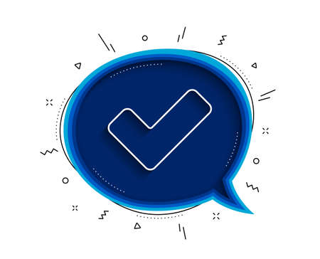 Check line icon. Chat bubble with shadow. Approved Tick sign. Confirm, Done or Accept symbol. Thin line tick icon. Vector