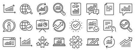 Set of Chart, Report document and Graph icons. Analytics, Statistics line icons. Data analytics, Presentation chart and Communication. Global Statistics, hold document and checklist report. Vector