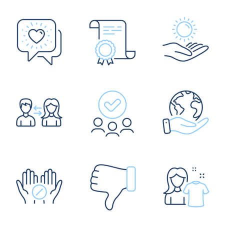 People communication, Dislike hand and Sun protection line icons set. Diploma certificate, save planet, group of people. Clean shirt, Friends chat and Medical tablet signs. Vector