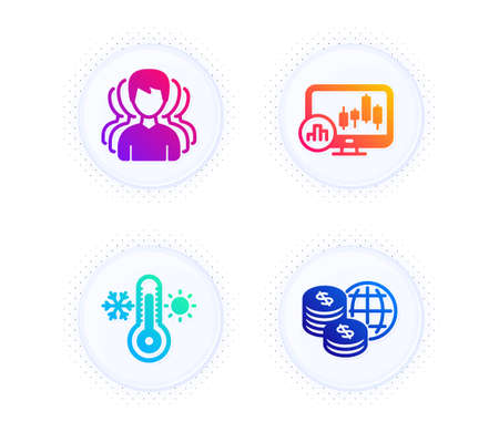 Thermometer, Group and Candlestick chart icons simple set. Button with halftone dots. World money sign. Thermostat, Headhunting service, Report analysis. Global markets. Business set. Vector