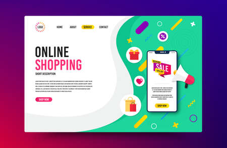 Landing page with phone mockup. Weekend sale 50% off badge. Discount banner shape. Hot offer icon. Website template banner with smartphone screen. Shopping mockup web page template. Vector