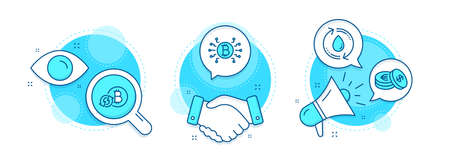Bitcoin system, Refresh bitcoin and Refill water line icons set. Handshake deal, research and promotion complex icons. Savings sign. Cryptocurrency scheme, Update cryptocurrency, Recycle aqua. Vector