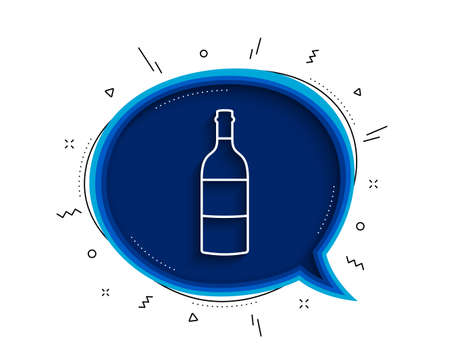 Wine bottle line icon. Chat bubble with shadow. Merlot or Cabernet Sauvignon sign. Thin line wine bottle icon. Vector