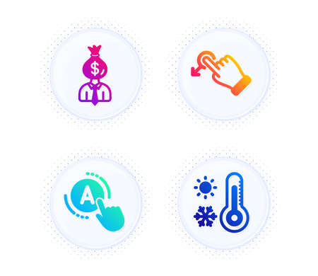 Drag drop, Manager and Ab testing icons simple set. Button with halftone dots. Weather thermometer sign. Move, Work profit, A test. Temperature. Business set. Gradient flat drag drop icon. Vector