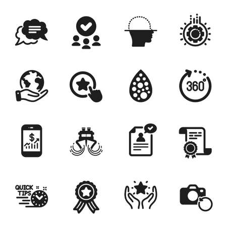 Set of Technology icons, such as Loyalty star, Face scanning. Certificate, approved group, save planet. 360 degrees, Quick tips, Text message. Resume document, Ranking, Recovery photo. Vector Ilustração