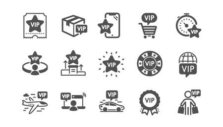 Vip icons set. Casino chips, delivery parcel, very important person. Certificate, player table, vip buyer icons. Crown, casino ticket, business class flight. Membership privilege. Quality set. Vector