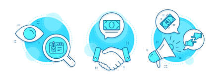 Click hands, Start business and Cash money line icons set. Handshake deal, research and promotion complex icons. Euro money sign. Direction, Launch idea, Banking currency. Cash. Business set. Vector 向量圖像