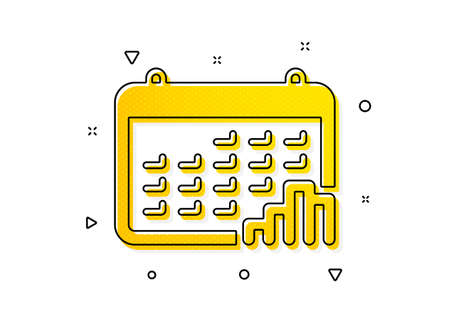 Column chart sign. Calendar graph icon. Growth diagram symbol. Yellow circles pattern. Classic calendar graph icon. Geometric elements. Vector Ilustração