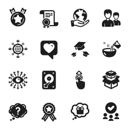 Set of Business icons, such as Couple, Artificial intelligence. Certificate, approved group, save planet. Hdd, Throw hats, Swipe up. Logistics network, Question mark, Ranking star. Vector 向量圖像