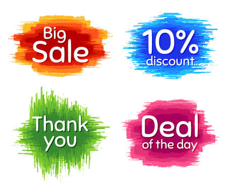Big sale, 10% discount and Deal of the day. Dirty brush stroke. Thank you phrase. Sale shopping text. Paint, ink watercolor brush stroke. Grunge painbrush dash. Vector Illusztráció
