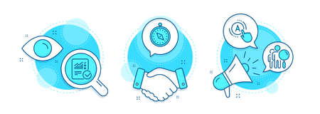 Search people, Ab testing and Travel compass line icons set. Handshake deal, research and promotion complex icons. Checked calculation sign. Find employee, A test, Trip destination. Vector