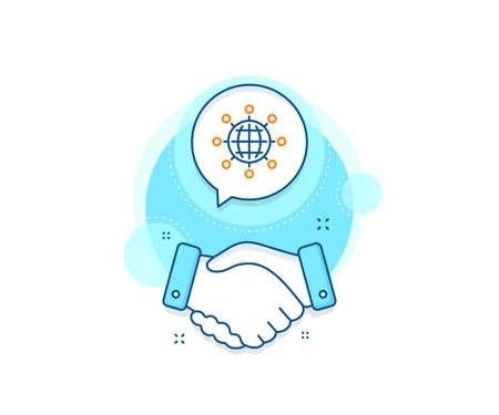 International work symbol. Handshake deal complex icon. Business networking line icon. Global communication sign. Agreement shaking hands banner. International globe sign. Vector