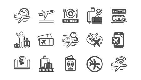 Airport icons set. Boarding pass, Baggage claim, Departure. Connecting flight, tickets, pre-order food icons. Passport control, airport baggage carousel, inflight .