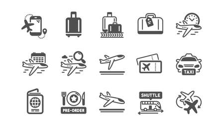 Airport icons set. Baggage claim, Boarding pass, Arrival and Departure. Connecting flight, tickets, pre-order food icons.