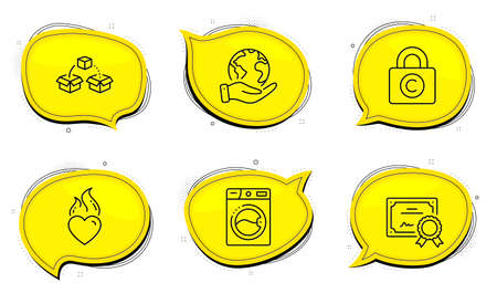 Copyright locker sign. Diploma certificate, save planet chat bubbles. Washing machine, Heart flame and Parcel shipping line icons set. Laundry, Love fire, Send box. Private information. Vector