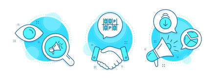 Scroll down, Megaphone and Parking place line icons set. Handshake deal, research and promotion complex icons. Pie chart sign. Swipe screen, Brand advertisement, Transport. Presentation graph. Vector