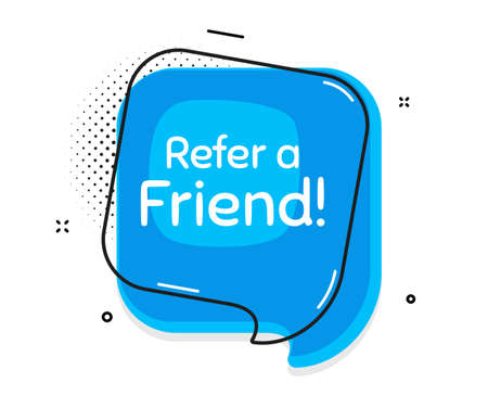 Refer a friend symbol. Thought chat bubble. Referral program sign. Advertising reference. Speech bubble with lines. Refer friend promotion text. Vector  イラスト・ベクター素材
