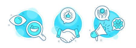 Cooking mix, Employee hand and Cogwheel line icons set. Handshake deal, research and promotion complex icons. Like hand sign. Bowl, Work gear, Engineering tool. Thumbs up. Business set. Vector Vectores