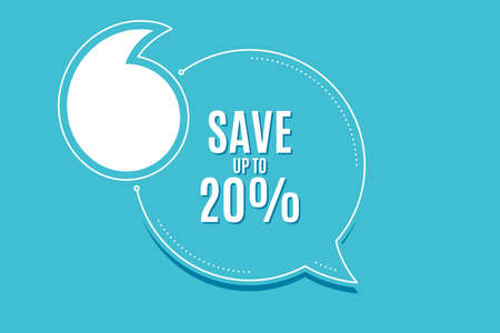 Quote banner with text. Save up to 20%. Discount Sale offer price sign. Special offer symbol. Texting quote template. Creative quotation marks design. Repetition statement. Vector  イラスト・ベクター素材