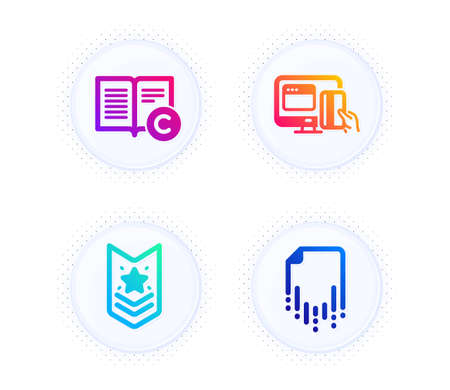 Shoulder strap, Online payment and Copyright icons simple set. Button with halftone dots. Recovery file sign. Star rank, Money, Copywriting book. Backup document. Business set. Vector