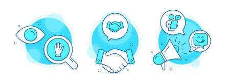 Hand, Yummy smile and Customer survey line icons set. Handshake deal, research and promotion complex icons. Employees handshake sign. Waving palm, Emoticon, Contract. Deal hand. People set. Vector