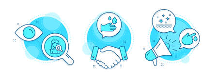 Clean skin, Blood donation and Rubber gloves line icons set. Handshake deal, research and promotion complex icons. Moisturizing cream sign. Face cream, Injury, Hygiene equipment. Face lotion. Vector Illustration