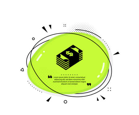 Cash money icon. Quote speech bubble. Banking currency sign. Dollar or USD symbol. Quotation marks. Classic usd currency icon. Vector
