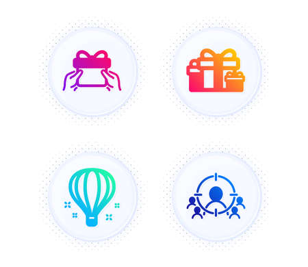 Holiday presents, Give present and Air balloon icons simple set. Button with halftone dots. Business targeting sign. Gift boxes, Receive a gift, Sky travelling. People and target aim. Vector