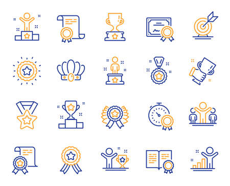 Success line icons. Winner cup, goal target, certificate. Reward, medal with ribbon, crown icons. Award, winner podium, first place success. Statue, diploma with certificate, challenge. Vector
