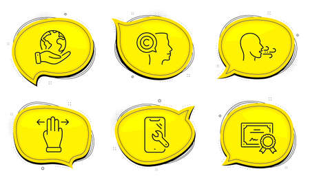 Breathing exercise sign. Diploma certificate, save planet chat bubbles. Writer, Multitasking gesture and Smartphone repair line icons set. Copyrighter, Swipe, Phone recovery. Breath. Vector