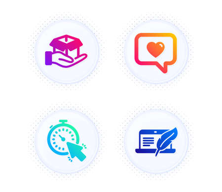 Love message, Hold box and Timer icons simple set. Button with halftone dots. Copyright laptop sign. Dating service, Delivery parcel, Time management. Writer device. Technology set. Vector 向量圖像