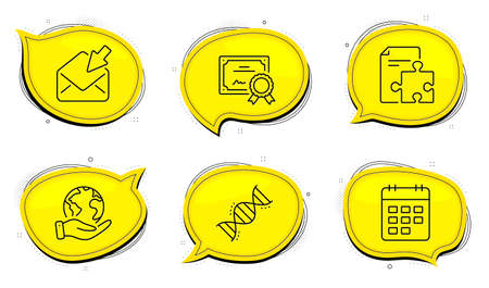 Strategy sign. Diploma certificate, save planet chat bubbles. Calendar, Chemistry dna and Open mail line icons set. Event reminder, Chemical formula, View e-mail. Puzzle. Education set. Vector