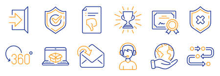 Set of Business icons, such as Reject protection, Online delivery. Certificate, save planet. Exit, Receive mail, Full rotation. Confirmed, Consultant, Methodology. Vector Çizim