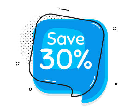 Save 30% off. Thought chat bubble. Sale Discount offer price sign. Special offer symbol. Speech bubble with lines. Discount promotion text. Vector
