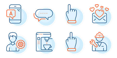 Repairman, Love mail and Dots message signs. Ab testing, Support and Coffee maker line icons set. Click hand, Middle finger symbols. Phone test, Edit profile. Business set. Outline icons set. Vector Foto de archivo - 150282689