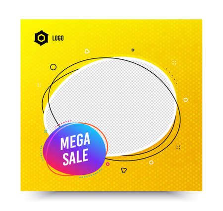 Mega sale badge. Yellow banner template. Discount banner shape. Coupon bubble icon. Social media banner with chat bubble. Online shopping web template. Mega sale promotion bubble. Vector Stock Vector - 150287428