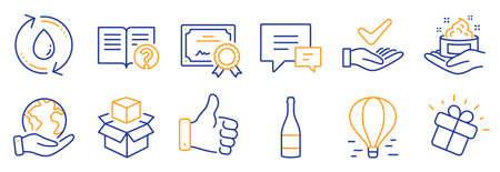 Set of Business icons, such as Refill water, Like hand. Certificate, save planet. Champagne bottle, Comment, Packing boxes. Help, Air balloon, Gift. Vector