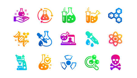 Chemical formula, Microscope and Medical analysis. Chemistry lab icons. Laboratory test flask, reaction tube, chemistry lab icons. Classic set. Gradient patterns. Quality signs set. Vector Ilustração