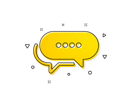 Chat comment sign. Dots message icon. Speech bubble symbol. Yellow circles pattern. Classic dots message icon. Geometric elements. Vector