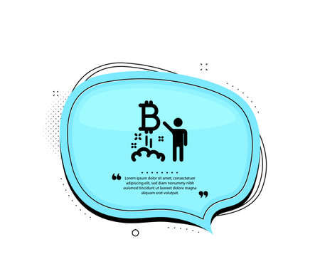Bitcoin icon. Quote speech bubble. Cryptocurrency startup sign. Crypto project symbol. Quotation marks. Classic bitcoin project icon. Vector Ilustracja