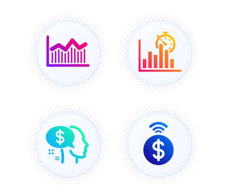 Report timer, Pay and Money diagram icons simple set. Button with halftone dots. Contactless payment sign. Growth chart, Beggar, Currency diagram. Financial payment. Finance set. Vector