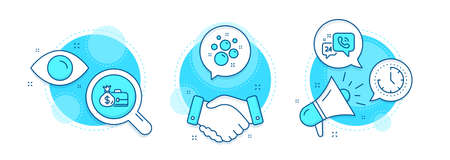 Clean bubbles, Time and 24h service line icons set. Handshake deal, research and promotion complex icons. Salary sign. Laundry shampoo, Clock, Call support. Diplomat with money bag. Vector Illusztráció